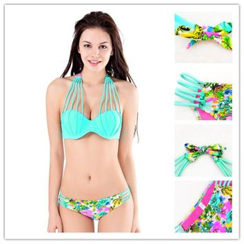 shell Bikini Women Halter printing Bikinis bandage two piece Swimsuit Brazilian Push Up Set Sling Bathing Suit Swimwear