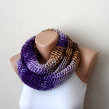 purple lilac brown knit infinity scarf  multicolor circle scarf