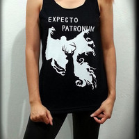 Expecto Patronum Galaxy Harry Potter Sign Movie Women Sleeveless Black Tank Top Tanktop Tshirt T Shirt