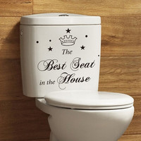 New Chic Seat removable waterproof toilet wall stickers Decals Decoration GO