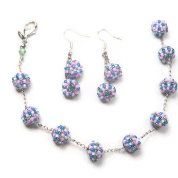 Beaded Bracelet and Earrings Jewelry Set