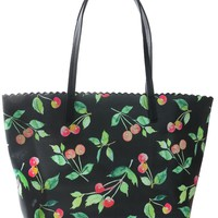 Womens Vegan Leather Rockabilly Cherry Pattern Tote Bag Purse
