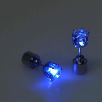 the charm of the LEDs light up to crown a glowing crystal stainless ear drops ear earring jewelry
