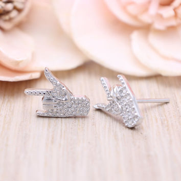 925 sterling silver Sign of I love You stud earrings