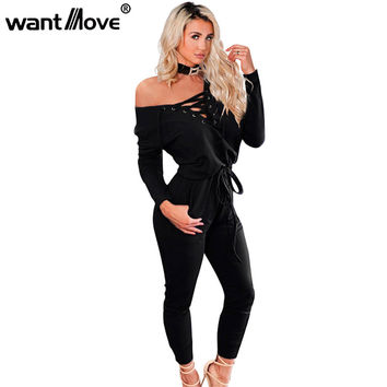 Wantmove 2017 Autumn Winter Lace Up Rompers Women Jumpsuit S-XL Bodysuits Pockets Long Sleeve Jumpsuits XD723