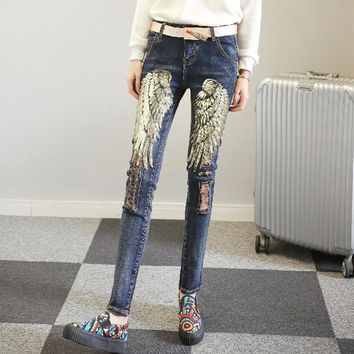 Fashion Wing Sequin Pattern Irregular Worn Long Jeans Small Foot Pants