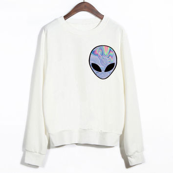 EAST KNITTING 2015 New Winter Women Punk Funny Alien Printed Sport Sweatshirt Cheap Clothing