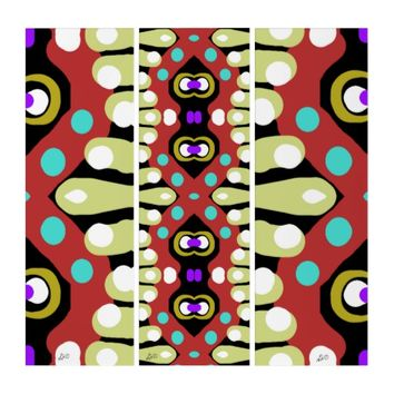 Colorful Tribal Totem Original Abstract Art Triptych