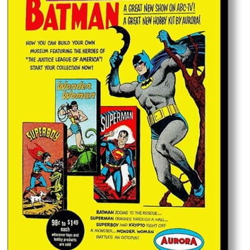 1965 Aurora Model Kits Batman Wonder Woman Superman Superboy Framed Magazine Ad