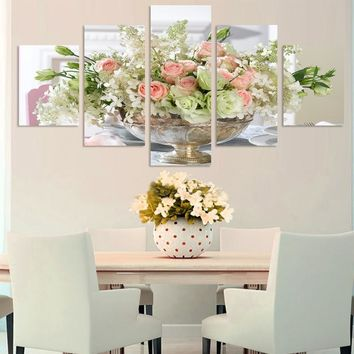 Home Wall Decor Art Picture Print 5 Panel Print Rose Lily Flowers Floral Vase