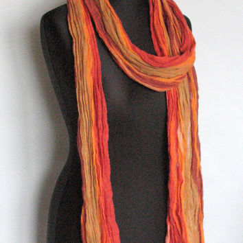 Natural Linen Scarf Striped Unisex Yellow Orange Red Burgundy Shawl Organic Spring SALE