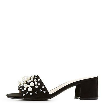 Qupid Pearl Embellished Slide Sandals
