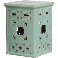 Square Lattice Frame Garden Seat With Turquoise Glaze