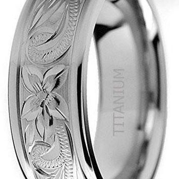 8mm Titanium Wedding Ring Band with Dragon Design Over Blue Carbon Fiber Inlay