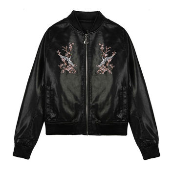 Red Heron Embroidered Bomber