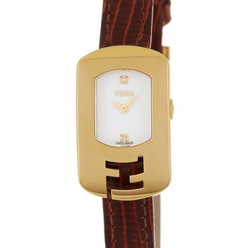 FENDI | Women's Chameleon Small Diamond Accent Leather Strap Watch, 18mm x 31mm | Nordstrom Rack