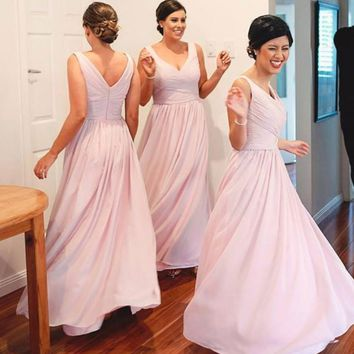 A-line V-neck Sleeveless Ruched Embellished Light Pink Floor-length Chiffon Bridesmaid Dresses,Wedding Party Dresses