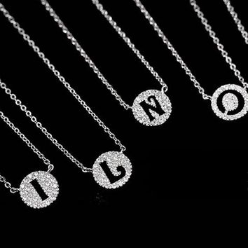Full CZ Initial Letter Pendant Necklace, 925 Sterling Silver A-N 24 Alphabet Letter Necklace, Tiny Charm Letter Necklace (DA704)