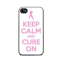 Keep Calm and Cure On Breast Cancer - iPhone 4 or 4s Cover, Cell Phone Case
