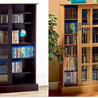 "Cabinet Media Storage 49"" Sliding Doors Wood & Glass Organize CD's DVD's Games"
