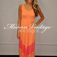 MVB Maxi Dress Apricot and Sunrise Pink - Modern Vintage Boutique