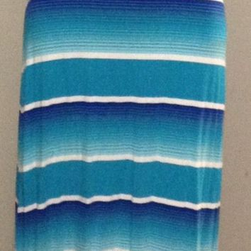 Merona Womens MAXI Tank Stretch Spandex Long Dress Beach Blue White Striped XS