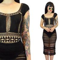 vintage 90s sheer black bodycon dress open crochet macrame romantic midi dress gothic vamp sexy cut-out witchy soft grunge cocktail small