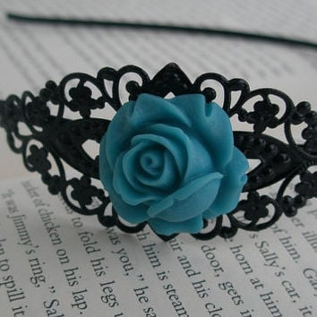 Black and turquoise headband- Bridesmaid -Teal blue and black rose filigree- Filigree headband- Romantic- Feminine