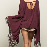 Apple Picking Burgundy Fringe Poncho