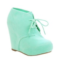 Lace up Platform Wedge Bootie Hidden Heel (8, mint) [Apparel]