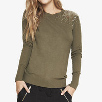 SEQUIN SHOULDER CREW NECK SWEATER from EXPRESS