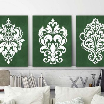 GREEN Bedroom Wall Art, DAMASK Wall Decor Canvas or Prints  Green Bathroom Decor, French Country Artwork, Set of 3, Green Home Decor
