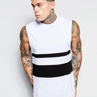 ASOS Sleeveless T-Shirt With Dropped Armhole And Monochrome Panels In Relaxed Fit