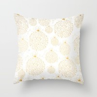 Gold Ornaments - Merry Christmas Throw Pillow by My Evergreen Place
