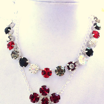Swarovski crystal FANCY flower pendant necklace, 11mm red and crystal, Valentine's day, better than sabika