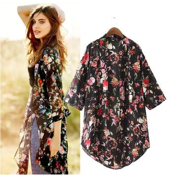 Stylish Three-quarter Sleeve Print Chiffon Women's Fashion Jacket [5013361732]