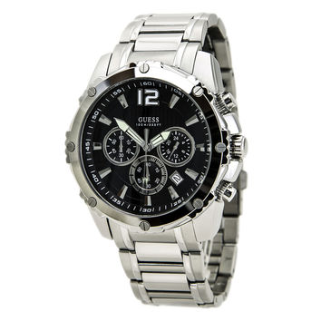 Guess U0165G1 Men's Bold Sport Black Dial Steel Bracelet Chronograph Watch