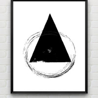 Minimalist Print, Black and White Wall Art, Geometric Art Print, Instant Download Minimalist Art Print, Triangle Wall Art, Contemporary Art