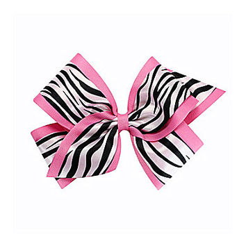 Copper Key Satin Animal King Overlay Bow - Hot Pink