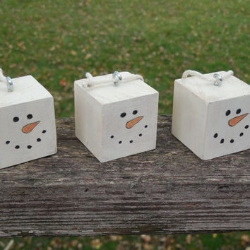 Set of 3 Wood Block Snowman Christmas Ornament Hand Painted