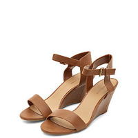 Tan Ankle Strap Low Wedges