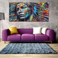 Abstract Painting Wall Art Canvas Woman Face Indian Girl Poster Canvas Painting for Living Room Wall Decor Picture Art Print 5pc