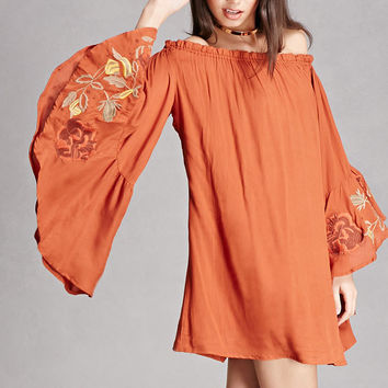 Embroidered Bell-Sleeve Dress