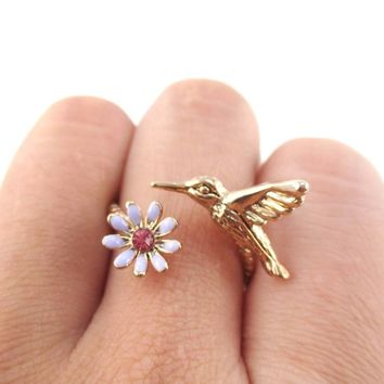 3D Hummingbird and Flower Shaped Wrap Around Adjustable Ring in Rose Gold
