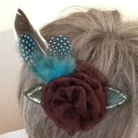 Brown Hair Clip, Wedding Flower, Spotted Blue Feathers