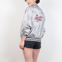 Vintage 80s Windbreaker Jacket Gray Silver Satin Bomber Jacket Chevy The Heartbeat of America Embroidered Ringer Chevrolet Sporty M Medium L