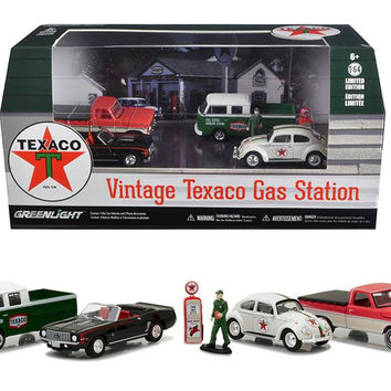 Motor World Diorama Texaco Vintage Gas Station 6pcs Set 1-64 Diecast Model Cars by Greenlight