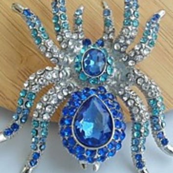Unique 2.36 Inch Silver-tone Blue Rhinestone Crystal Spider Brooch Art Deco Halloween Jewelry