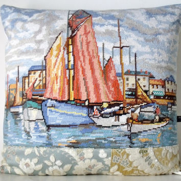 French Unique Vintage Tapestry Needlepoint Yachts Harbour Scene velvet Pillow Cushion Coussin