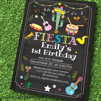 Mexican Fiesta Birthday invitation, Fiesta Party instruments Music Party Invitation for any age, Music Birthday  birthday - card 580